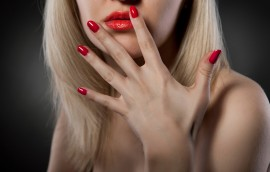 woman with red nails